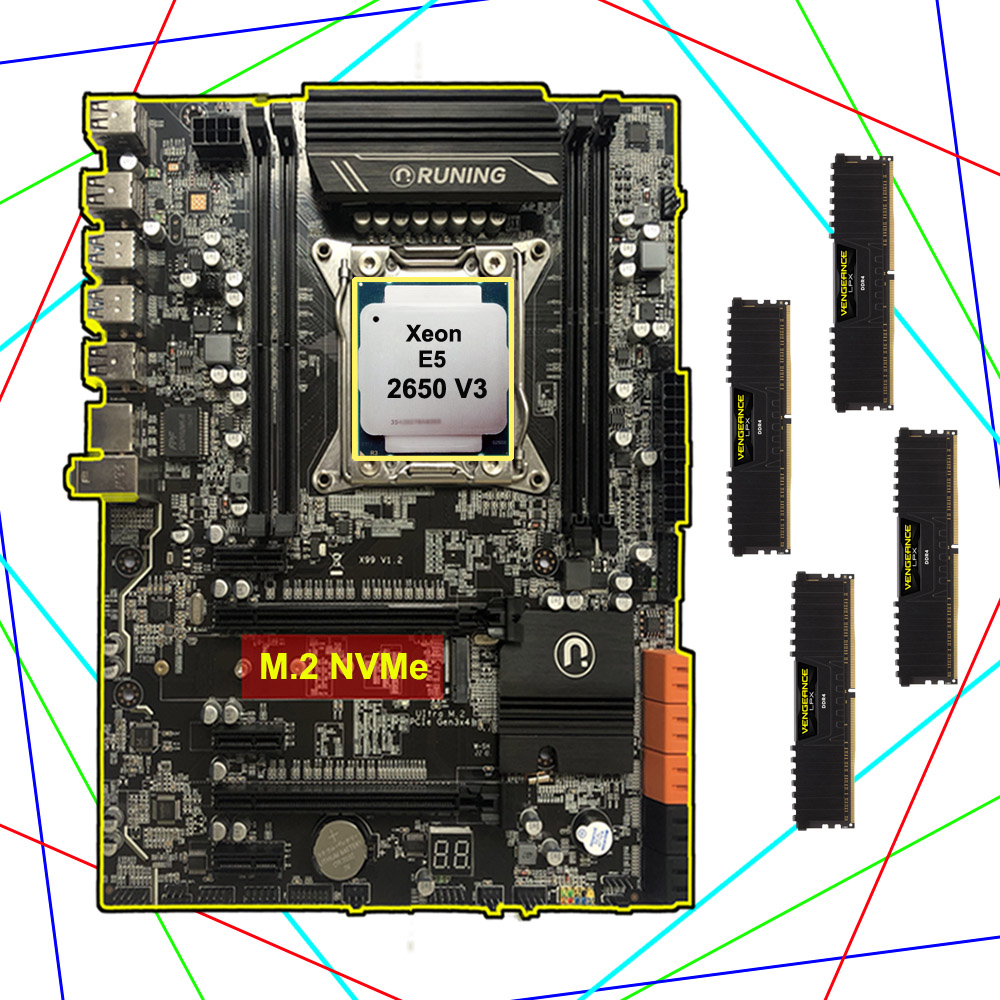 Motherboard bundle on sale Runing X99 LGA2011-3 motherboard with M.2 NVMe slot CPU Intel <font><b>Xeon</b></font> <font><b>2650</b></font> <font><b>V3</b></font> RAM 64G(4*16G) DDR4 2400 image