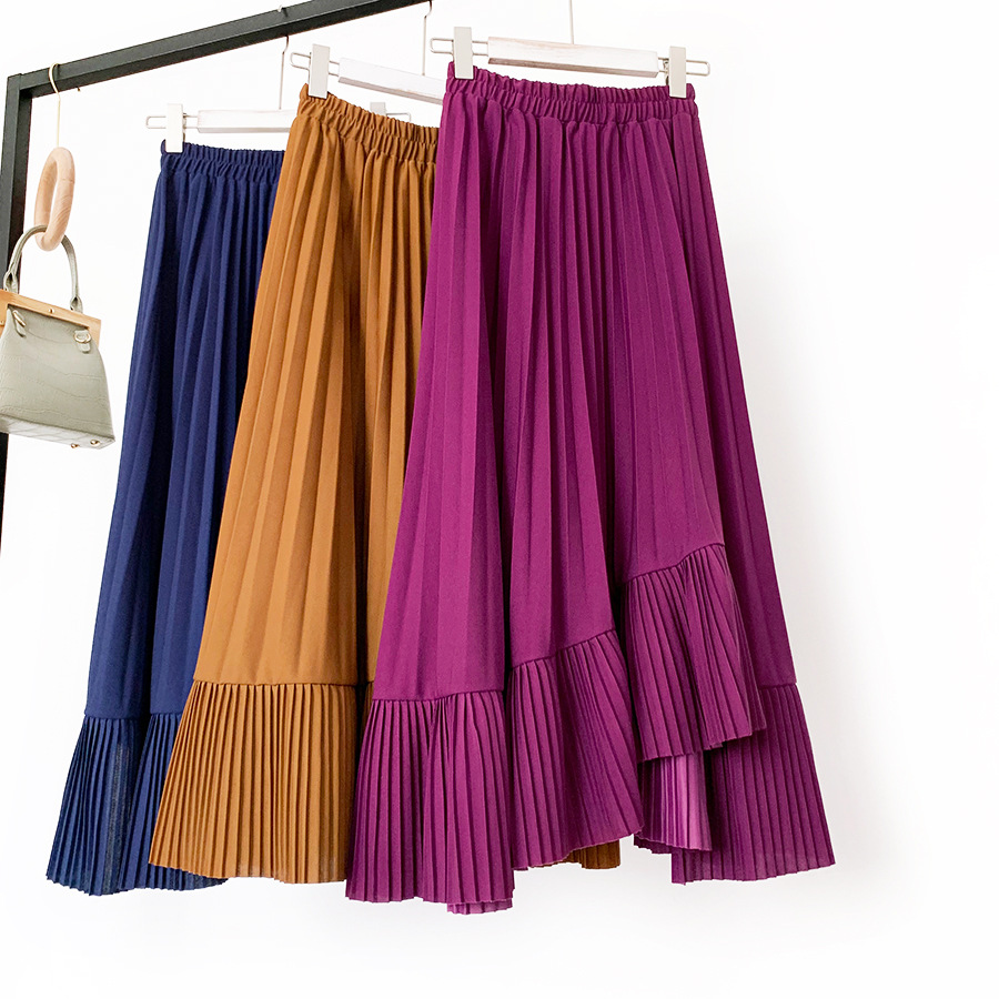 Qooth Elegant Pleated Skirts For Women Summer High Waist Asymmetrical Long Skirt Fashion Saia  Irregular Faldas QH2230