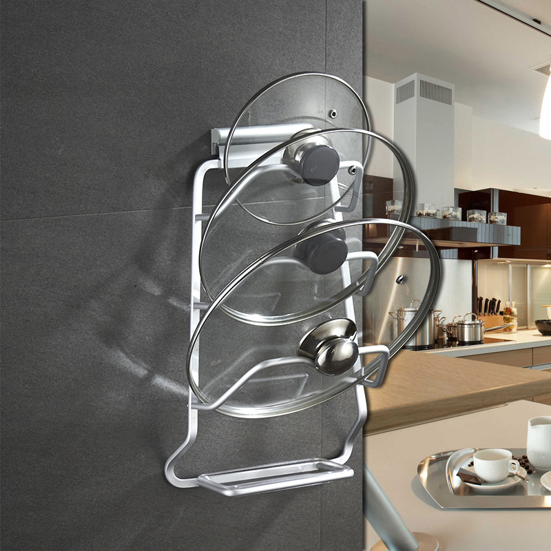 Modern Minimalist Pot Cover Holder Hole Punched Kitchen Hanger Multilayer Storage Rack Kitchen Multi-functional Wall Hangers Man