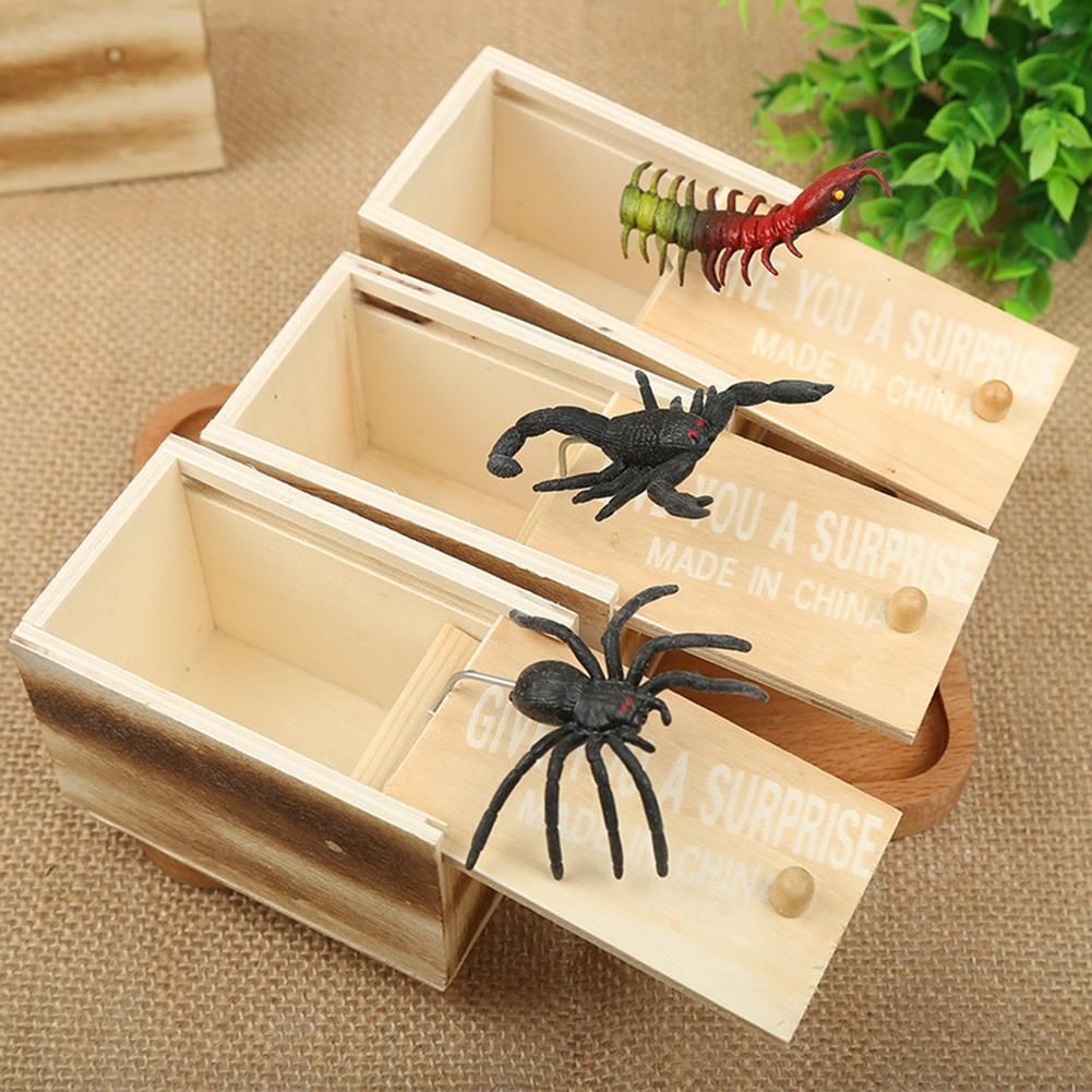 Funny Spider Centipede Scorpion Wooden Tricky Toy Surprise Box Halloween Props