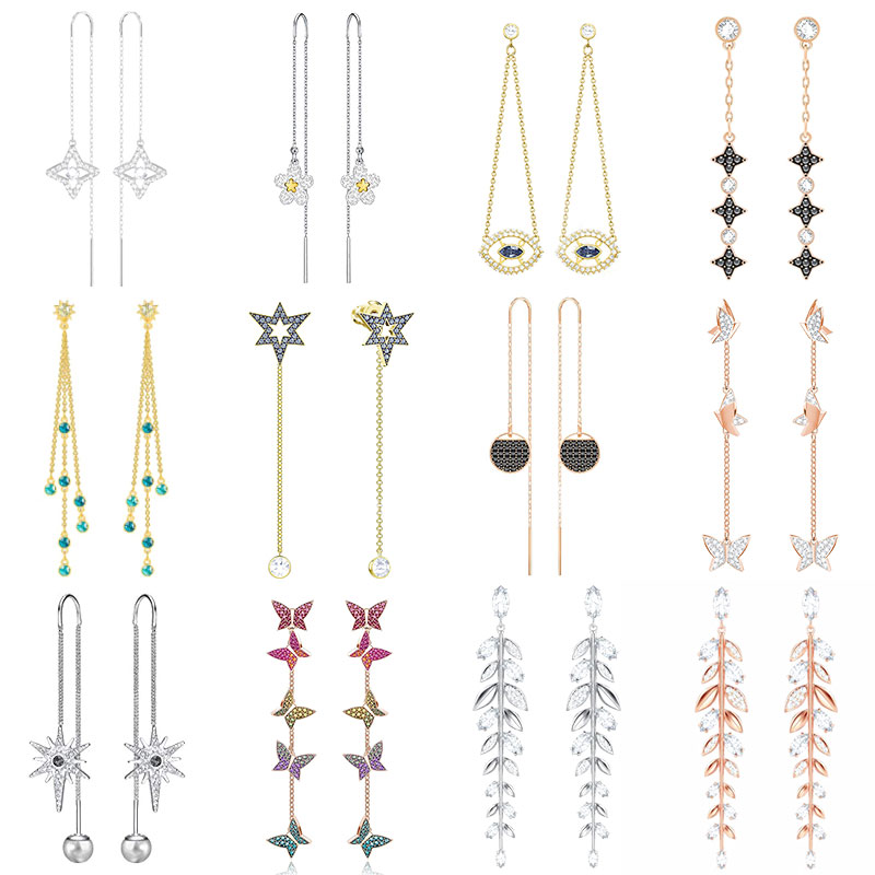 High Quality SWA ED007 Earring Original 1: 1 Ladies Fashion Pop Butterfly Gradient Color Long Ear Line Earring Jewelry.