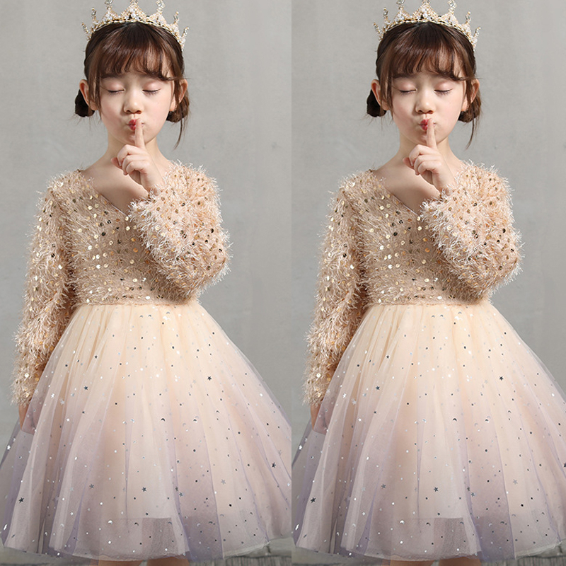 2020 New Arrival Girls Fashion Dress Princess Party Evening Dress Tutu 3-12 Y Shiny Sequin Children's Wear For Girls INS Style