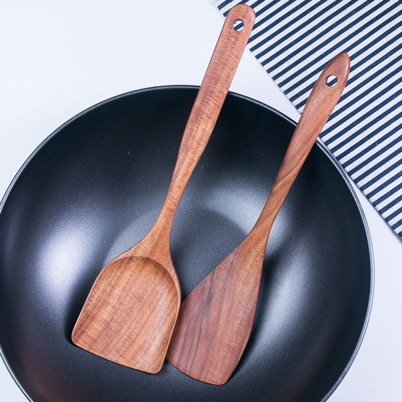 Simple Solid Wood Spatula Rice Scoop With Hanging Hole Unpainted Kitchen Cooking Tools NM