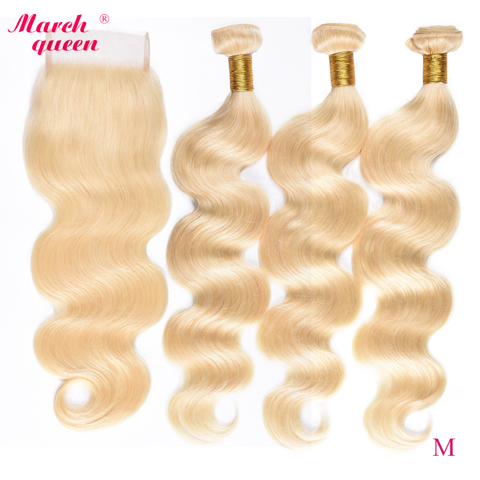 Marchqueen 613 Honey Blonde Bundles With Closure Medium Ratio Peruvian Body Wave Hair Bundles 100% Remy Human Hair Extensions