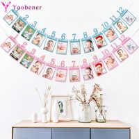 Primer Cumpleaños marco de fotos Banner decoración niños bebé niño niña mi primer año guirnalda de papel para fiesta decoración empavesado 12 mes
