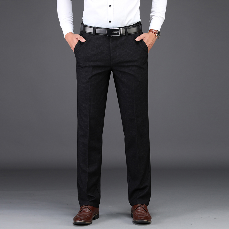 Plus Zise 42 44 46 Dress Pants Men Classic Style Business Casual Loose Straight Stretch Black Trousers Male Brand