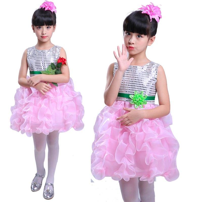 Короткие пышные красивые платья с оборками для маленьких девочек недорогой танцевальный костюм лавандового, красного, желтого цвета платье с блестками для маленьких девочек - Цвет: cheaper pink