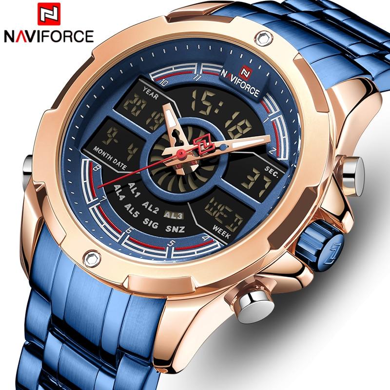 New NAVIFORCE Men Watch Full Steel Quartz Men's Wrist Watches Military Dual Display Waterproof Sports Digital Male Clock For Men