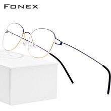 FONEX tytanu okulary z lekkiego stopu rama mężczyźni okulary korekcyjne koreański dania kobiety krótkowzroczność oprawki optyczne bezśrubowe okulary 98618