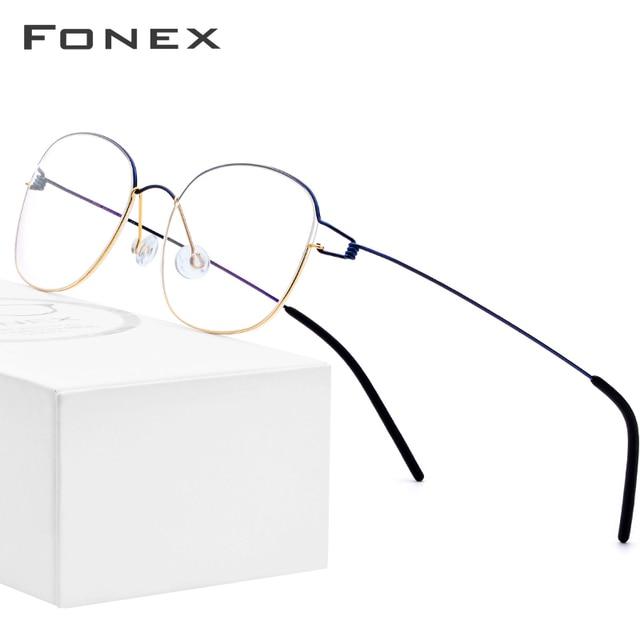 FONEX טיטניום סגסוגת משקפיים מסגרת גברים מרשם משקפיים קוריאני דנמרק נשים קוצר ראיה מסגרת אופטית ללא בורג Eyewear 98618