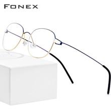 Fonex liga de titânio óculos quadro masculino prescrição óculos coreano dinamarca feminino miopia óptica quadro screwless eyewear 98618