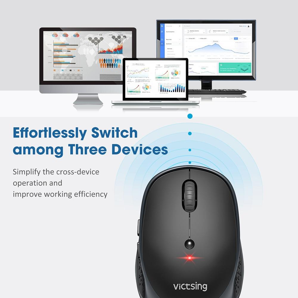 VicTsing PC254 Wireless Mouse 2400DPI Adjustable Portable Bluetooth Mouse 2.4Ghz USB Optical Cordless Mice For PC Tablet Laptop PK Logitech Ajazz ACGAM Razer (2)