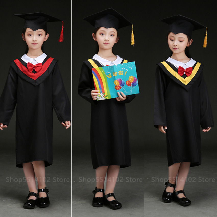 Children Graduate Academic Dress Kindergarten Primary School Student Uniform Bachelor Gown With Cap Graduation Party Performance