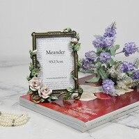 European Antique Enamel Flower Rectangle Metal Photo Frame Standing Home Wedding Decoration Gift for Friend Picture Desktop