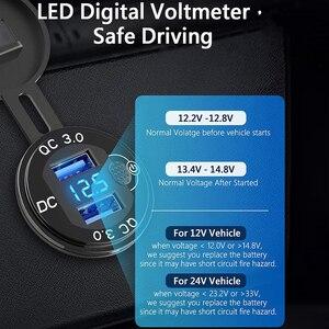 Image 2 - תצוגת LED 36W 12V USB שקע רכב QC3.0 מתכת מתג עמיד למים אוניברסלי משאית מכונית מצית שקע תקע עבור טלפון Tablet מצלמה