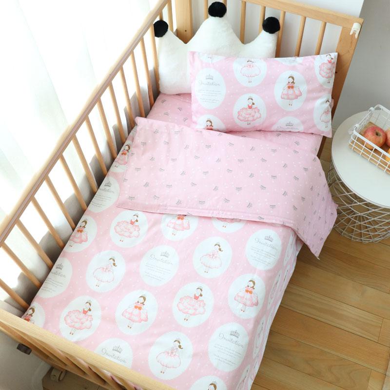 3Pcs Baby Bedding Set For Boy Girl Nordic Cotton Kids Bed Linen Cot Kit Crib Bedding For Newborns No Filler Allow Custom Size