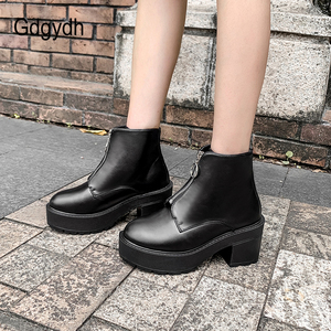 Image 4 - Gdgydh Fashion Zipper Block Heel Boots Women Platform Shoes Short Boots Woman Autumn Leather Black Gothic Style High Quality