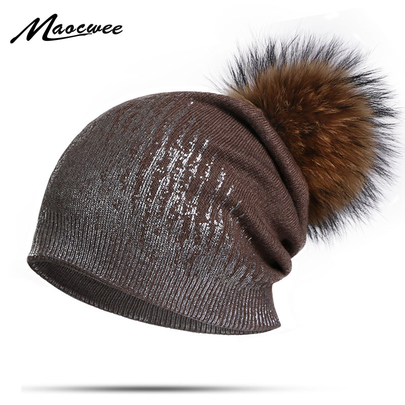 Fashion Winter Hat For Women Cotton Pompon Beanies Real Fur Bobble Ball Beanies Hats Windproof Warm Outdoor Girl's Beanie Hats