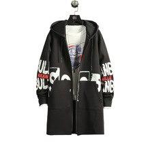 Mens Jacket Overcoat Hooded Streetwear-Autumn Military-Style Black Korean Long Winter