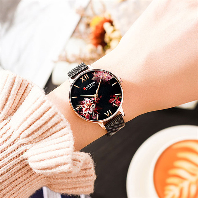 CURREN Women Watch Top Brand Luxury Black Female Waterproof Clock Mesh Stainless Steel Bracelet Flower Ladies Wristwatch 9059