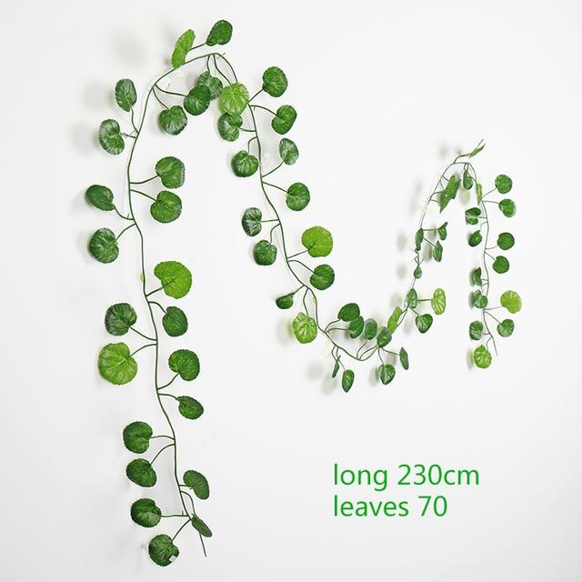 230cm green silk artificial Hanging ivy leaf garland plants vine leaves 1Pcs diy For Home Bathroom Decoration Garden Party Decor