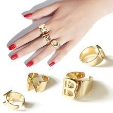 Anillos de apertura con 26 letras en inglés para hombre y mujer, sortija de acero inoxidable, joyas de oro plateado, regalos, anillo ajustable