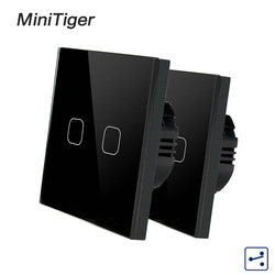Minitiger EU Standaard 1/2 Gang 2 Way Control Muur Light Touch Switch, Crystal Glass Panel, cross/door schakelaars, 2 stks/pak