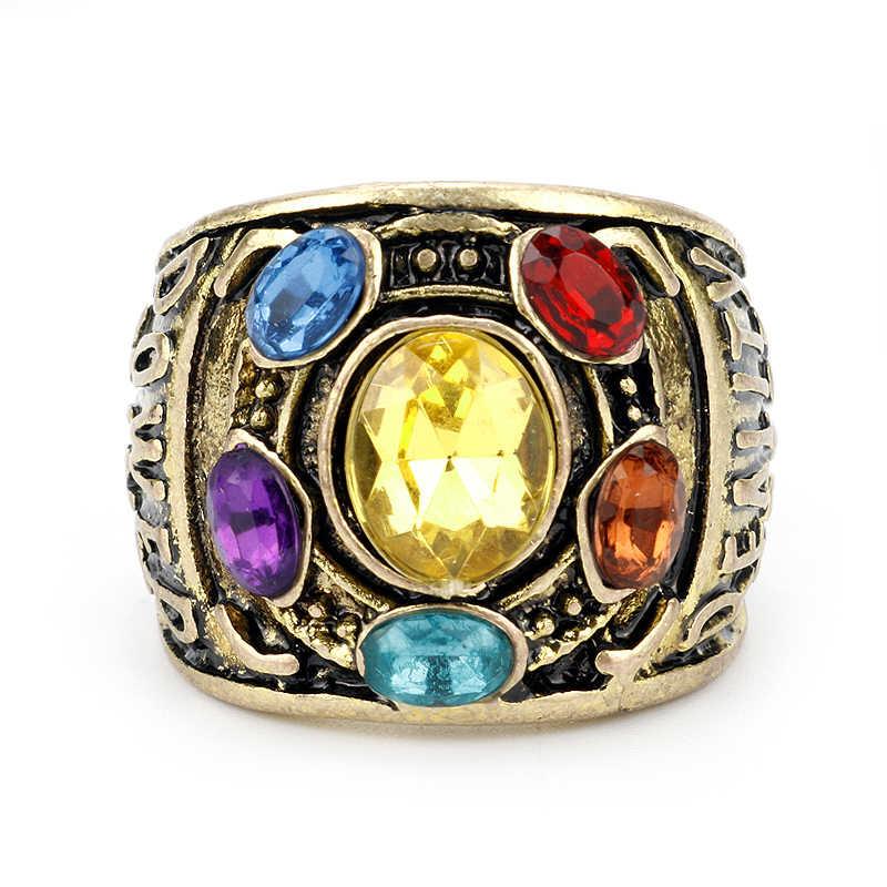 Acessórios de filme avengers infinity war thanos infinity gauntlet power cosplay liga anel jóias