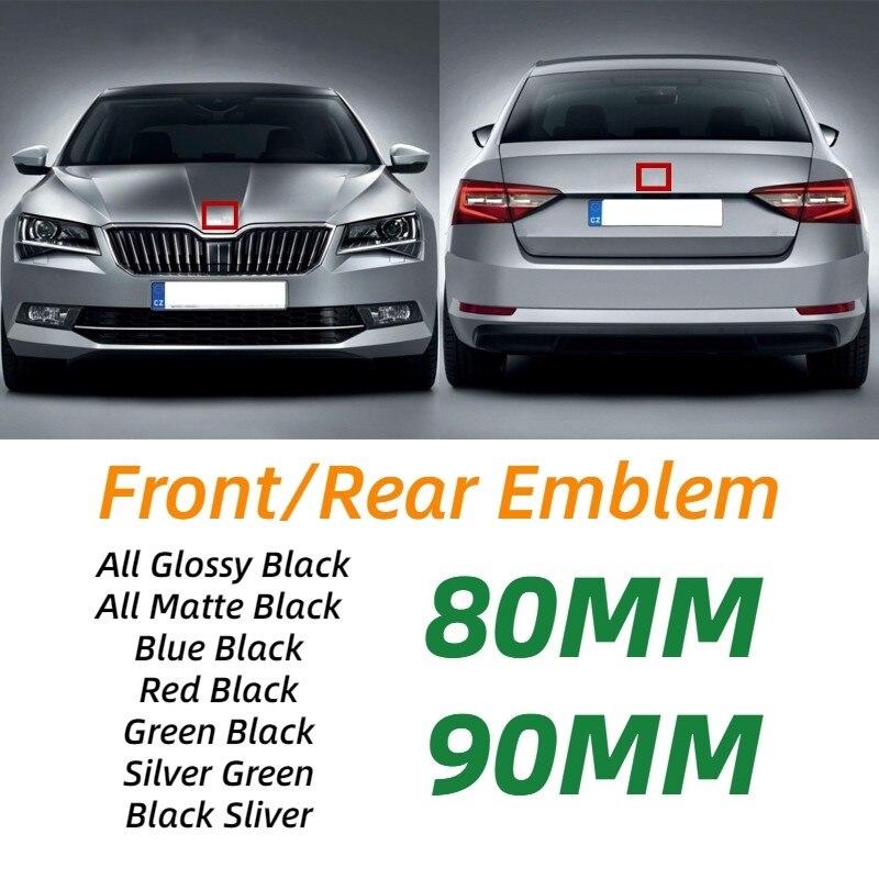 80mm 90mm abs emblema para skoda fabia 1 2 octavia a7 rs superb rápido yeti karoq visão cabeça do carro frente traseira boot bagageira etiqueta|Adesivos para carro|   -