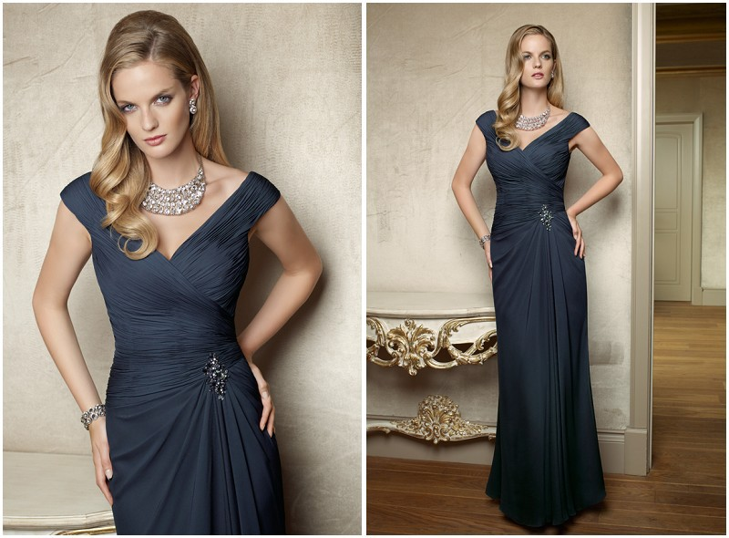 Free Shipping High Quality Chiffon Cap Sleeve V-neck Mother Of The Bride Dresses Evening Dress 2013