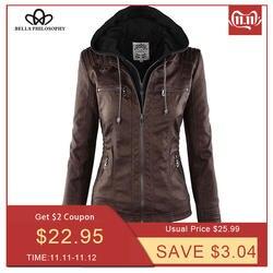 Женские мотоциклетная куртка Bella Philosophy, куртка с отложным воротником и молнией, верхняя одежда из искусственной кожи, куртка для зимы