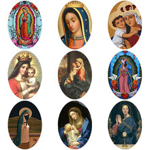10pcs Virgin Mary Oval Glass Cabochon Photo 13x18mm/18x25mm Demo Flat Back Jewelry Findings For Necklace Bracelet Charm
