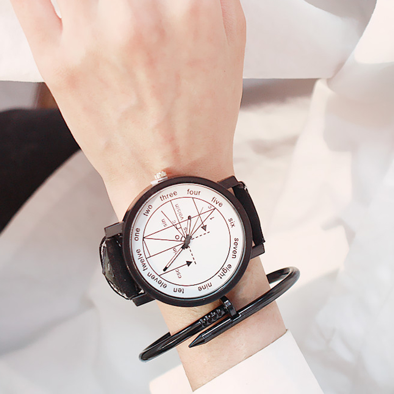 Women Wrist Watch Quartz Wristwatches Black White Clock Large Dial Leather Creative Fashion Female Hours Grils Ladies Watches