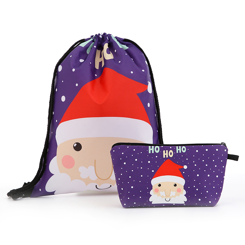 Drawstring Christmas Cosmetic Suit Backpack Drawstring Fashion Printing Travel Softback Men Bags Unisex Women's Shoulder Bag New