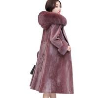 Sheep Sheared Coat Female Medium long 2020 New Fashion Fox Fur Hooded One Parker Hooded Fur Coats Large size Women's clothing