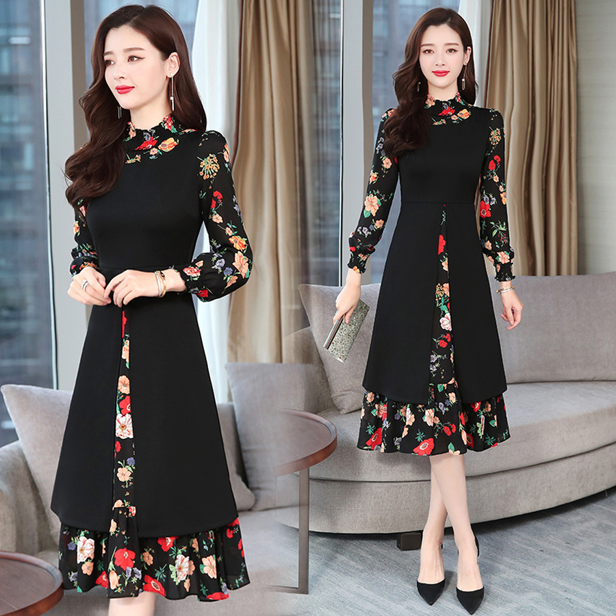 2020 Vintage Print Chiffon Long Sleeve Dresses Autumn Winter New 4XL Plus Size Black Bodycon Dress Elegant Women Party Vestidos