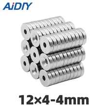 цена на AI DIY 10/30/100 pcs 12x4mm Hole 4mm N35 Super strong ring countersunk Rare Earth magnets  permanent neodymium magnet 12*4-4mm