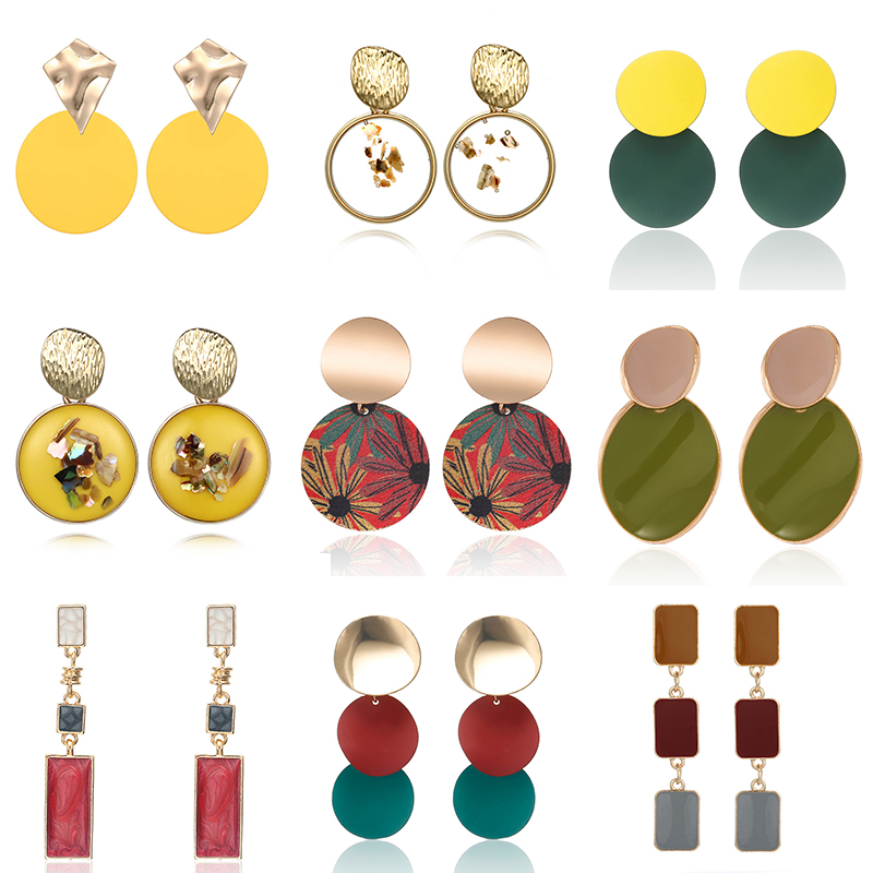 Fashion Metal Round Pendant Earrings Colorful Drip Oil Geometric ZA Dangle Earrings For Women Party Oorbellen Wholesale Price