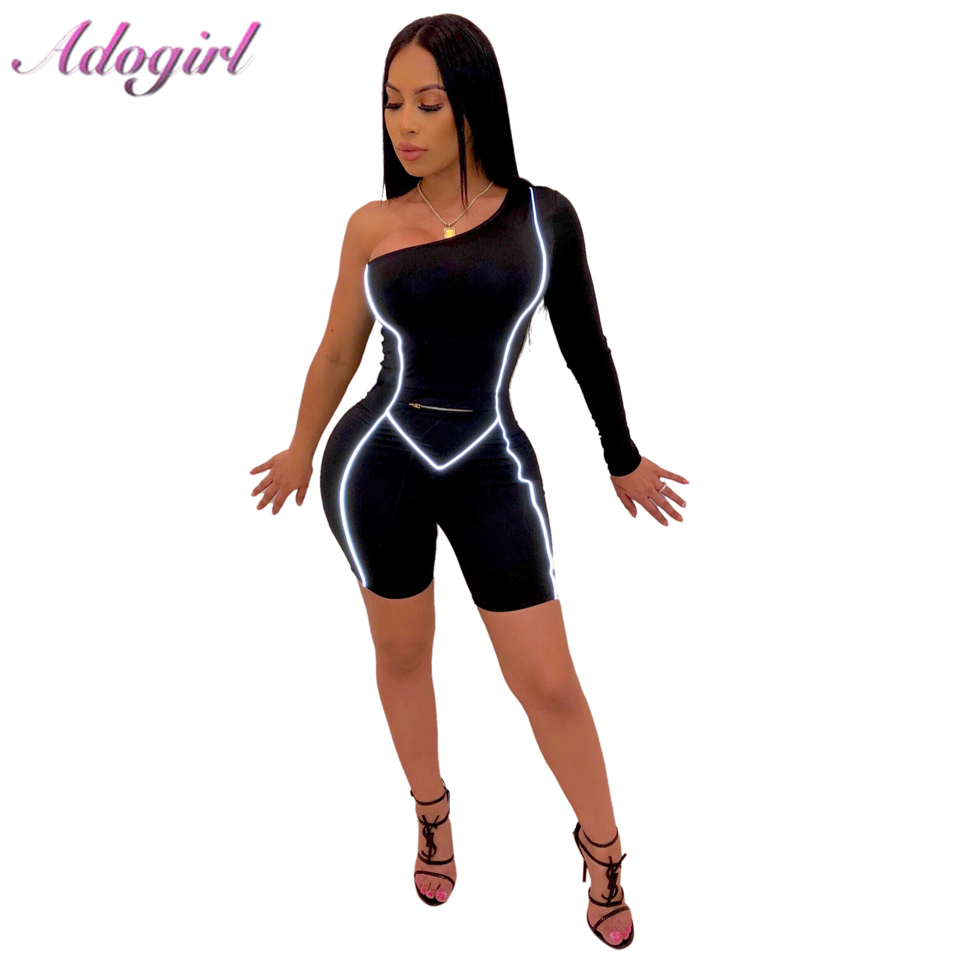 Adogirl Sexy One Shoulder Reflective Bandage Jumpsuit Women Casual Long Sleeve Slim Romper Shorts Playsuit Party Club Overslla
