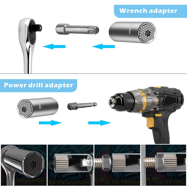 Купить с кэшбэком Hot Power Drill Ratchet Bushing Spanner Key Magic Multi Hand Tools 7-19mm Universal Torque Wrench Head Set Socket Sleeve