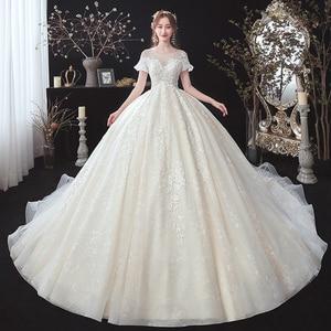 Image 1 - 구슬 장식 아플리케 레이스 짧은 소매 높은 허리 공주 공 가운 웨딩 드레스 임신 신부 플러스 크기 Aliexpress 로그인