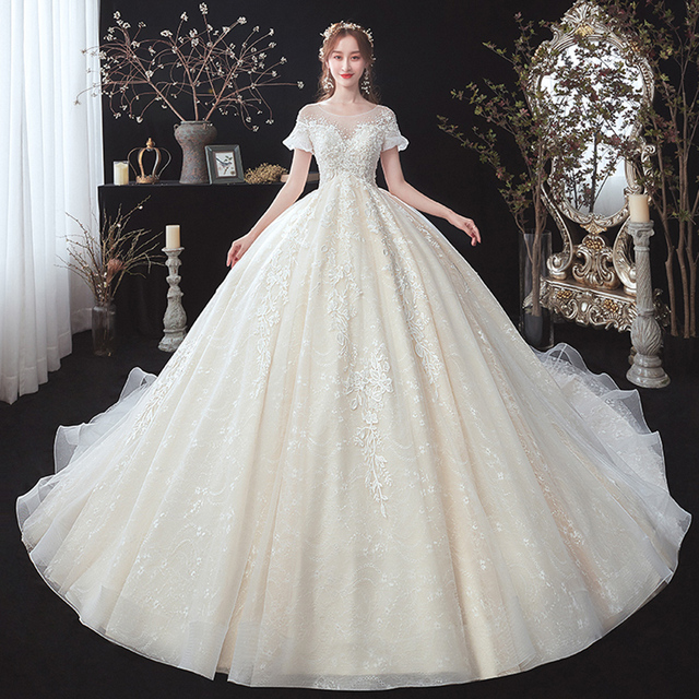 Beading apliques rendas manga curta cintura alta princesa vestido de baile vestido de casamento para noivas gravidez plus size login aliexpress