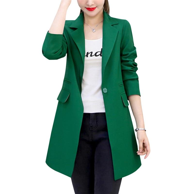Single Button Spring Autumn Slim Women Long Blazer Suit Jacket Coat Solid Gray Green Black 3XL Plus Size