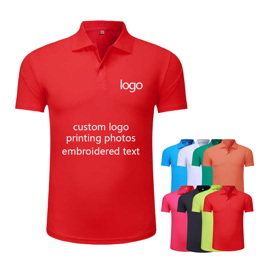 Milk silk short-sleeved polo shirt salesman overalls custom logo factory clothing embroidery logo print text or photo