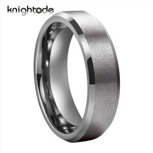 Image 5 - Bandas de boda de tungsteno para hombre y mujer, 6mm y 8mm, par de anillos de compromiso, bordes biselados, acabado mate pulido