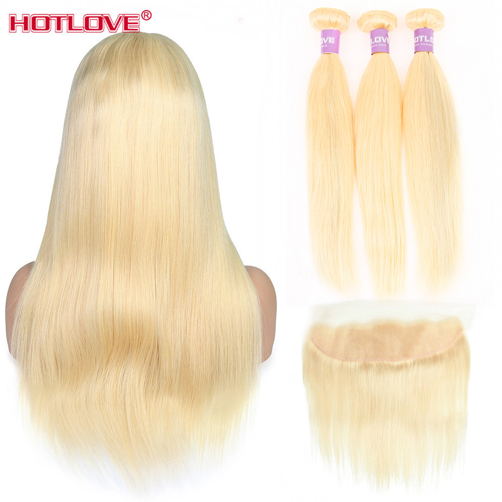 613 Honey Blonde 3 Bundles With Frontal Closure 13x4 Peruvian Straight Hair Weave 613 Bundles With Frontal Closure Remy Hair