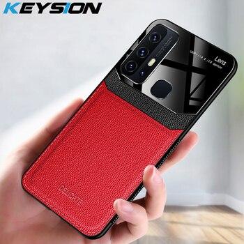 Перейти на Алиэкспресс и купить KEYSION модный противоударный чехол для VIVO Z6 5G из искусственной кожи с зеркальным покрытием из закаленного стекла, чехол для телефона VIVO Z5 Z5X Z3 ...