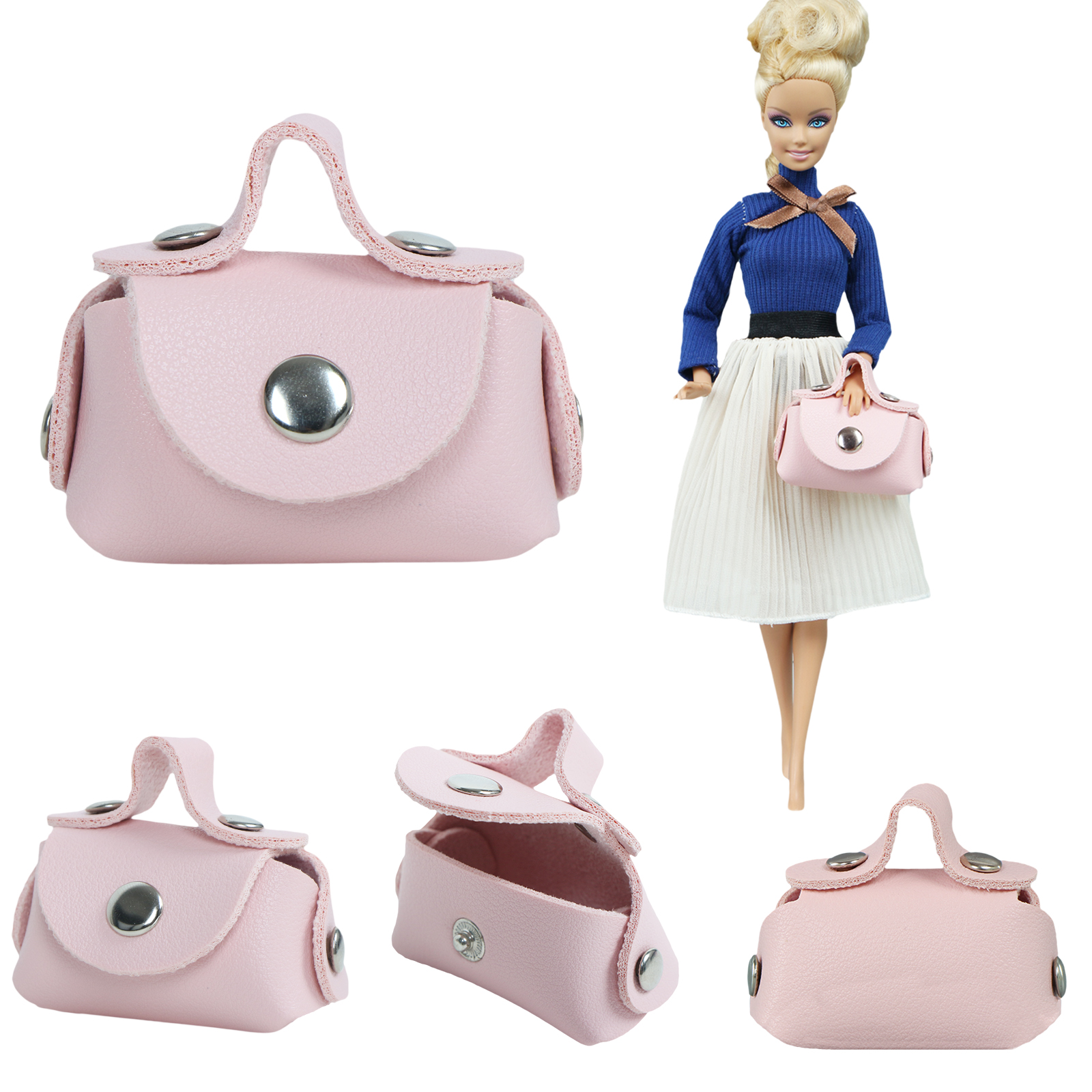 One Pcs Doll Bag Fashion Pink Shoulder Shopping Handbag Best Make Up Bag Accessories Clothes For Barbie Doll 1/6 DIY Baby Toy