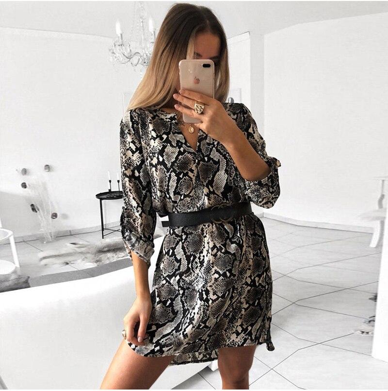 Mode femmes léopard t-shirt robe élégante à manches longues fête Club robe col en V OL vêtements Dames robe femme vestidos Streetwear