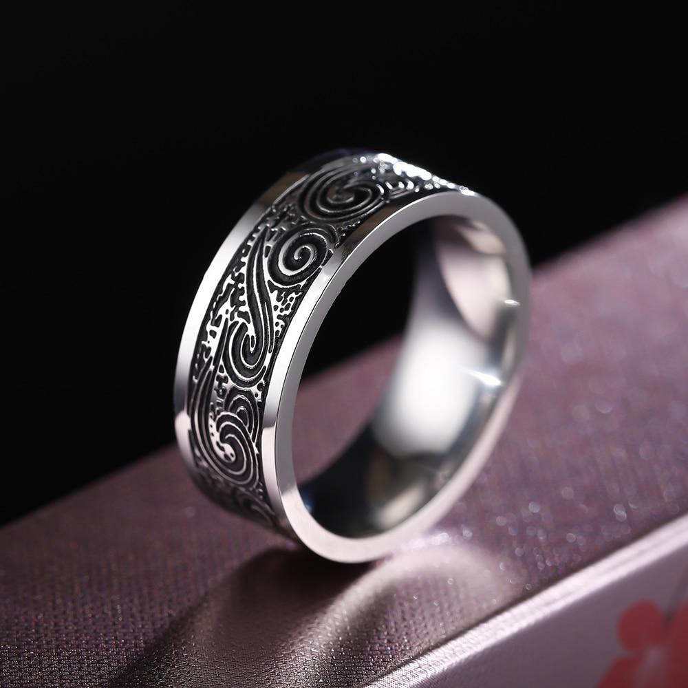 8mm Titanium Rings for Men and Women Birthday Gift triangular pattern discredit Ring(China)